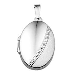 Ovaalvormig Foto Medaillon van Zilver met Zirkonia's