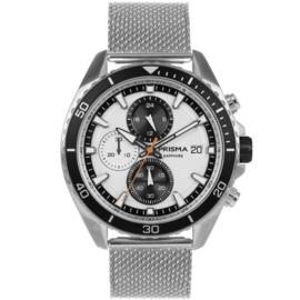 Prisma Modern Zilverkleurig Heren Horloge met Milanese Horlogeband