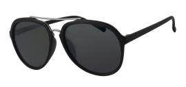 Matt Zwarte Zonnebril met Grijze Glazen