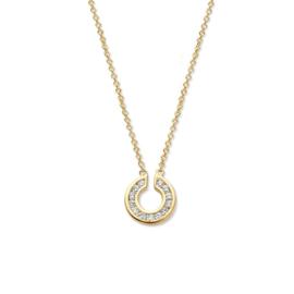 Excellent Jewelry Gouden Collier met Opengewerkte Cirkel Hanger