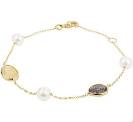 Geelgouden Armband met Edelstenen en Zoetwaterparels