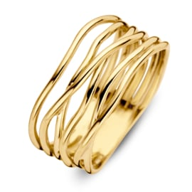 Excellent Jewelry Brede Geelgouden Ring met Slanke Golvende Stroken