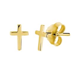 Zilveren Kruis Oorstekers met Goudkleurige Coating