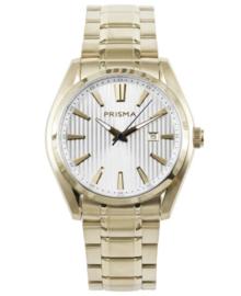 Goudkleurig Heren Horloge met Witte Lijnen Wijzerplaat en Goudkleurige Decoraties