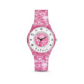 Roze Horloge met Witte Decoraties van Colori Junior