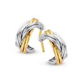 Excellent Jewelry Bicolor Oorstekers met Dubbele Strook