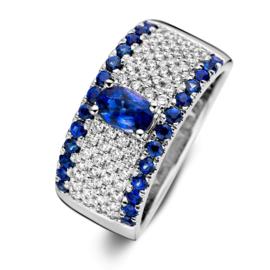 Excellent Jewelry Brede Witgouden Ring met Briljanten en Saffieren