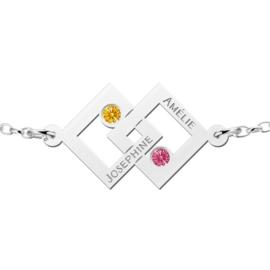 Names4ever Dubbele Vierkant Zilveren Moeder en Dochter Geboortestenen Graveer Armband