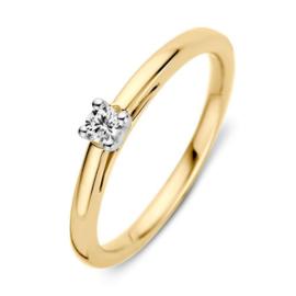 Excellent Jewelry Slanke Geelgouden Ring met 0,10 crt. Briljant