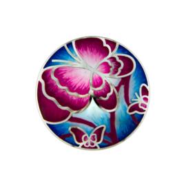 Roze Emaille Vlinder Munt van Zilver van MY iMenso