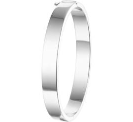 Brede Scharnier Bangle armband met Vlakke Buis van Zilver