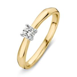 Excellent Jewelry Geelgouden Ring met Witgouden Briljant Kopstuk