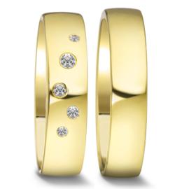 Gouden Trouwringen Set met Gepolijst Binnenste en Diamanten