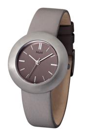 Zilverkleurig Best Basic Dames Horloge met Taupe Band van M&M