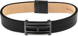 Zwart Lederen Heren Armband met Edelstalen Kopstuk van Tommy Hilfiger