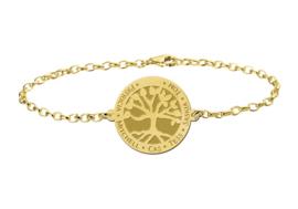Gouden Armband met Ronde Levensboom Naamhanger > Names4ever
