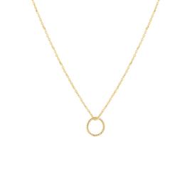 Geelgouden Anker Collier met Slanke Opengewerkte Cirkel