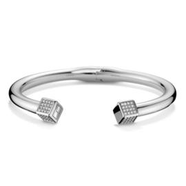 Cilindervormige Edelstalen Dames Armband met Zirkonia Kubussen TJ2700740