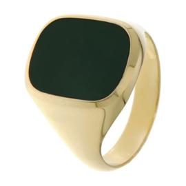 Excellent Jewelry Geelgouden Jaspis Zegelring voor Heren