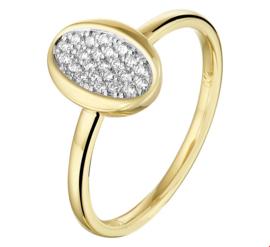 Geelgouden Ring met Ovaalvormig Kopstuk met Diamanten
