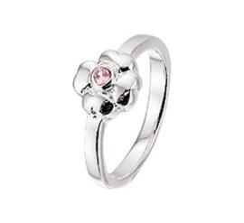 Zilveren Ring voor Kinderen met Bloem en Roze Zirkonia
