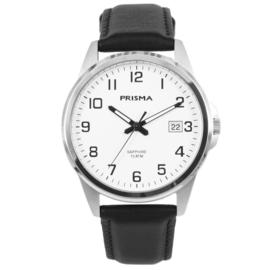 Titanium Prisma Heren Horloge met Witte Wijzerplaat en Zwarte Horlogeband