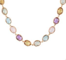 Roségouden Collier met Kleurrijke Edelstenen