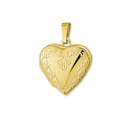 Gouden Medaillon Hart Hanger Gravure Bloem Decoraties