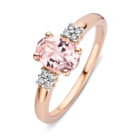 Excellent Jewelry Roségouden Ring met Morganiet en Briljant Kopstuk