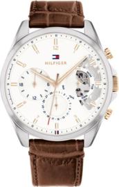Tommy Hilfiger Zilverkleurig Heren Horloge met Bruin Leren Armband