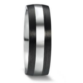 Robuuste Carbon Heren Trouwring met Zilver en Diamanten