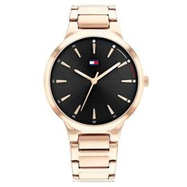 Tommy Hilfiger Bella Roségoudkleurig Dames Horloge met Zwarte Wijzerplaat