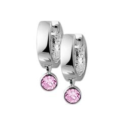 Roze Zirkonia Hanger Klapcreolen van Gepolijst Zilver