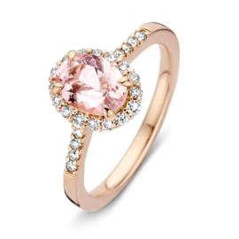 Excellent Jewelry Roségouden Ring met Morganiet Diamant