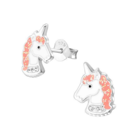 Unicorn Hoofd Kinderoorbellen met Roze Glitter Emaille