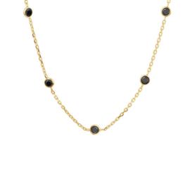 Collier van Zilver met Goudkleurige Coating en Zwarte Zirkonia's