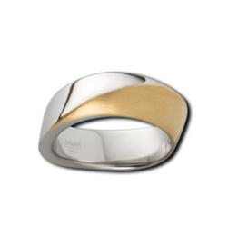Bicolor Ring van M&M met Gematteerde en Gepolijste Bewerking