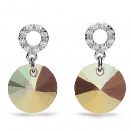 Xilion Disc Gekleurde Swarovski Oorbellen van Spark Jewelry