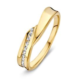 Excellent Jewelry Abstracte Geelgouden Ring met Zirkonia Rij