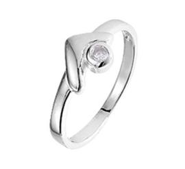 Zilveren Ring met Gehoekt Kopstuk en Kleurloze Zirkonia