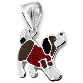Speelse hond kinderhanger / Zilver IB14146