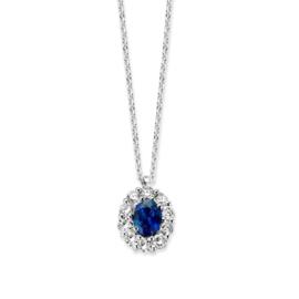Excellent Jewelry Robuust Witgouden Collier met Saffier en Briljant Hanger