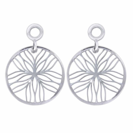 Zilveren Creoli Hangers met Line Flower van MY iMenso