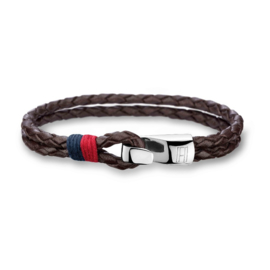 Dubbele Gevlochten Bruin Lederen Armband van Tommy Hilfiger TJ2700671