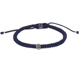 Blauwe Geknoopte Koord Armband met Zilveren Bedel