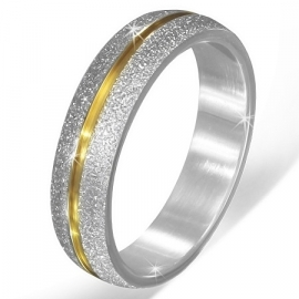 Stijlvolle graveer ring + Goudkleurige streep