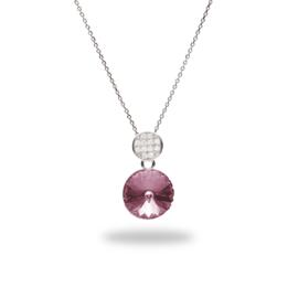 Candito Zilveren Ketting met Zirkonia's en Roze Glaskristal