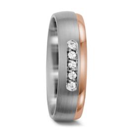 Matte Zilveren en Roségouden Dames Trouwring met Vijf Diamanten