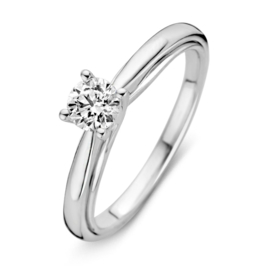 Excellent Jewelry Witgouden Ring met 0,40 crt. Diamant