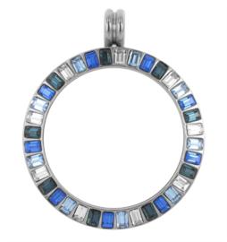 LOCKits Zilverkleurige Munthanger met Blauwe Steentjes